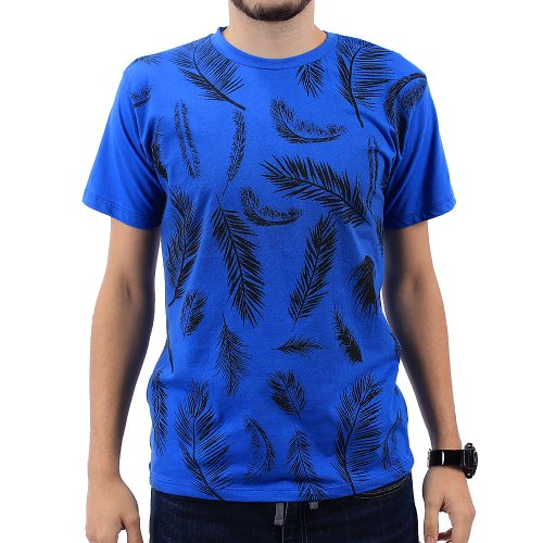 Camiseta Masculina Estampa Tropical Com Manga Curta