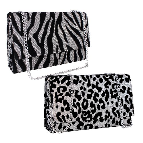 Kit Feminino de Festa 2 Bolsas Clutch Animal Print