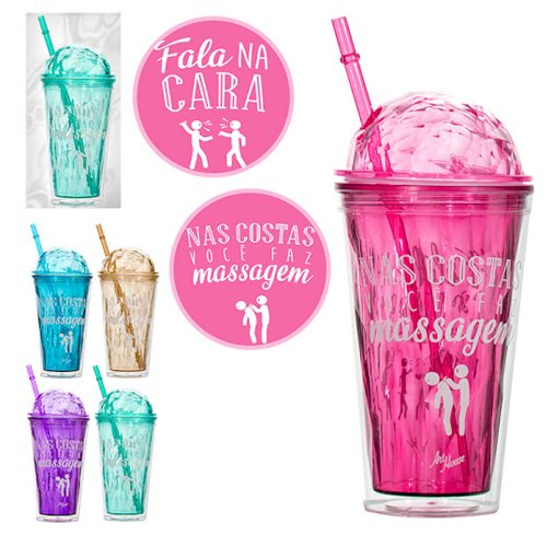 Copo Diamond Com Canudo Decorado Frases 450ML