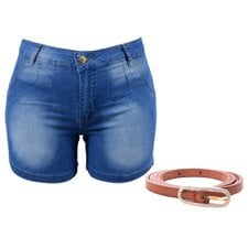 "Kit Feminino Plus Size Short Jeans ""46""+ Cinto Fininho"