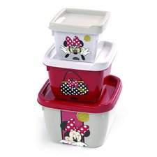 Kit 3 Potes Plásticos Quadrados Minnie Mouse Plasútil