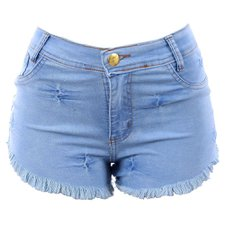 Short Jeans Hot Pants Levanta Bumbum Barra Desfiada Feminino