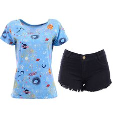 "Kit Blusa Bata Estampada ""M""+ Short Jeans ""38"""