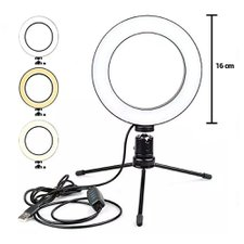 Ring Light Maquiagem Led Mesa Com Tripé 6 Polegadas 16 CM