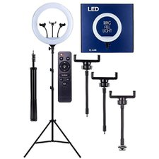 Ring Light Touch Led Tripé Suporte 3 Celulares 18 Polegadas