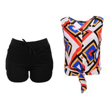 "Kit Feminino Regata Cropped ""M""+ Short Com Cordão ""M"""