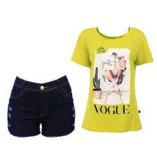 "Kit Feminino Blusa Manga Curta ""M""+ Short Jeans Destroyed ""44"""