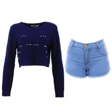 "Kit Moletom Cropped ""G/GG""+ Short Jeans ""42"""