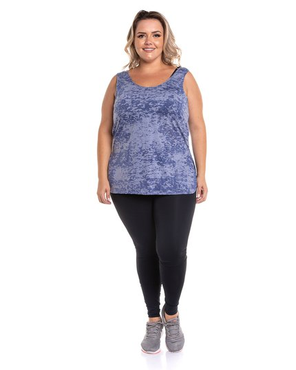 Regata plus size com abertura lateral estampa devore jeans