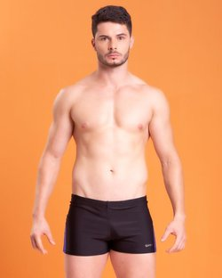 Sunga Shorts com Recorte na Lateral Preto